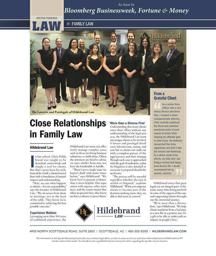 Scottsdale Arizona Divorce and Estate Planning Attorneys Featured in Blookberg Business Week, Money, and Fortune Magazines.